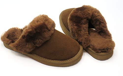Lammfell Pantoffel Slipper Damen Hausschuhe Braun - Grau oder Beige Sand mit beigen Fell mit Comfort Sohle - sehr warm