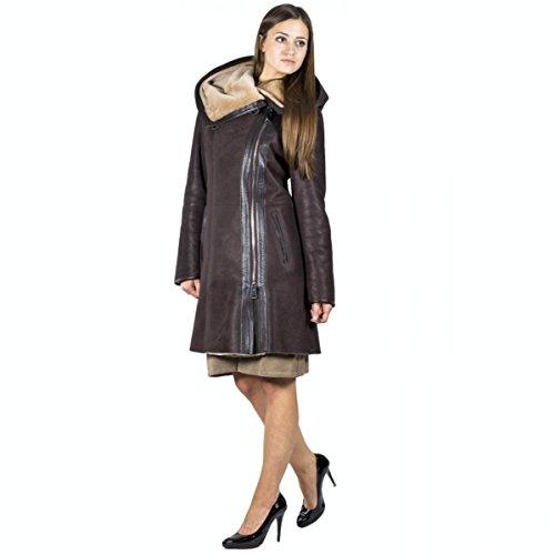 Hollert German Leather Fashion Lammfellmantel - KATJA Damen Mantel Ledermantel braun