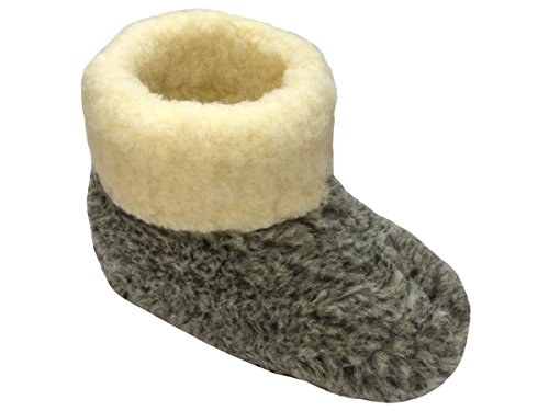 Warme Hausschuhe Hüttenschuhe aus Schafwolle Leo