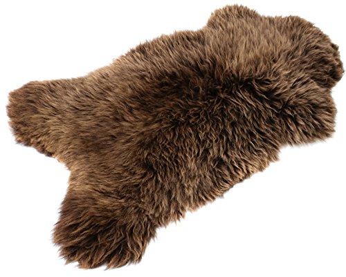 BRAUN SCHAFFELL Lammfell - NATURFELL SHEEPSKIN NEU (Braun 110-120 cm)