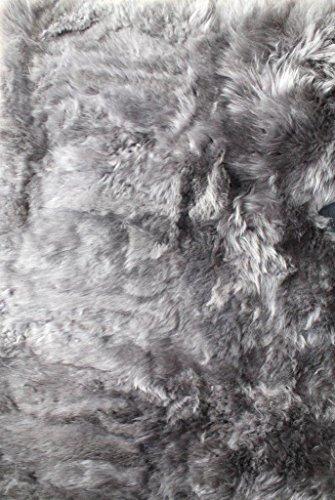 Naturasan Designer Öko Schaffell Lammfell Teppich, Hochflor, Langflor, Retro, Flokati Schaffellteppich (120x180, Dunkelgrau)